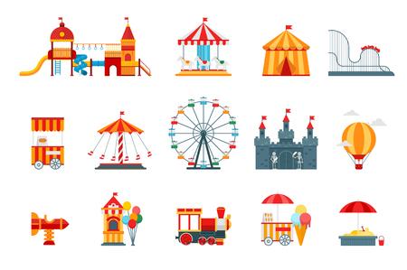 Amusement park vector platte elementen, leuke iconen, geïsoleerd op witte achtergrond met reuzenrad, kasteel, attracties, circus, luchtballon, schommels, carrousel. Architectuur entertainment elementen vector