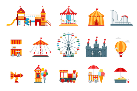 Amusement park vector flat elements, fun icons, isolated on white background with ferris wheel, castle, attractions, circus, air balloon, swings, carousel. Architecture entertainment elements vector Illustration