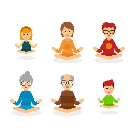 명상 사람들 만화 문자 흰색 배경에 고립, 사람들이 벡터 플랫 그림. 행복 한 가족은 Lotus 위치에서 명상. 잔잔한 포즈, 정신 균형, 조화, 영성 에너지