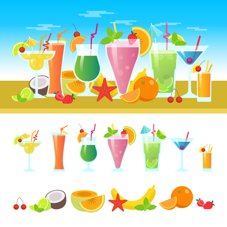 non alcoholic: Set of different cocktails on a table with fruits. Summer cocktails vector colorful banner. Alcoholic and non-alcoholic cocktails, bar flat vector illustration