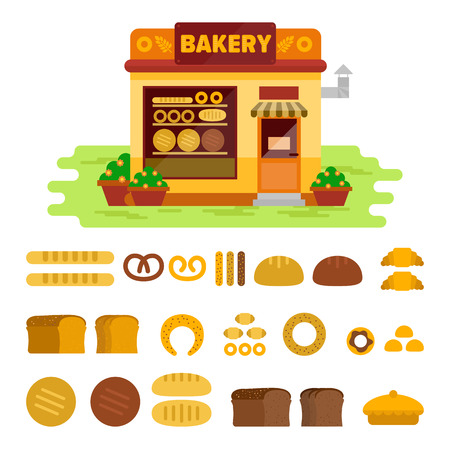 Bakery shop on the street with bread icon set , pastry vector flat illustration. Bun, loaf, bread, croissant, baguette, bagel, various pastries
