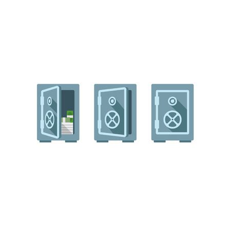 savings account: Flat safe vector illustration one safe indoor and two safes outdoor. Safe great. Wall safe.