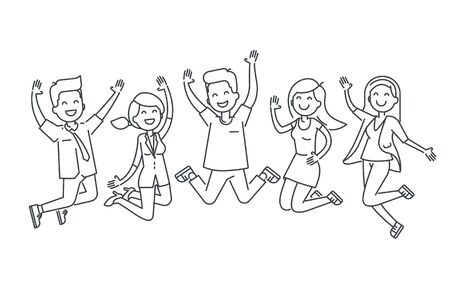 Happy people jumping line vector illustration isolated on white background.