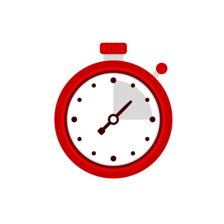 chrome: Stopwatch icon. Sport timer on competitions. Trainer holding stopwatch. Start, finish. Time management. Vector illustration flat design. Isolated on background. Illustration