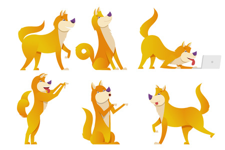 The dog cartoon characters set vector illustration. Yellow dogs in different poses vector flat design isolated on white background. Stock Photo