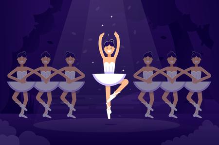 Ballet vector flat illustration, ballerinas in dancing on the stage with light on the dark background. Ballet prima ballerina performance. Ballet flat design banner stock illustration 向量圖像