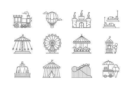 Set van lineaire park pictogrammen platte elementen. Stockfoto - 89291354
