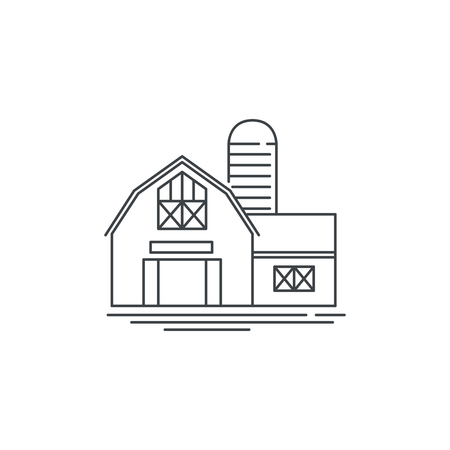 Farmhouse barn line icon. Outline illustration of horse barn vector linear design isolated on white background. Farm logo template, element for farming design, line icon object. 矢量图像