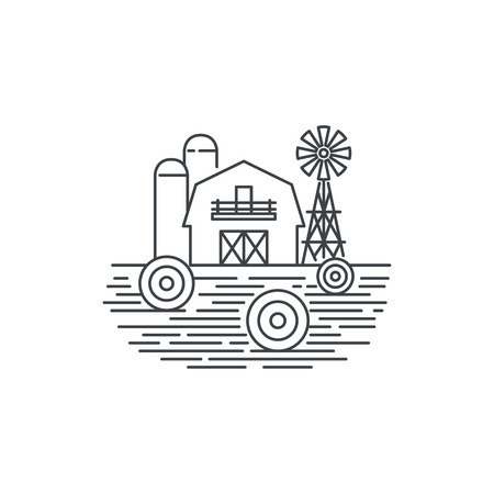 Farm hay line icon. Outline illustration of hay field and barn vector linear design isolated on white background. Farm logo template, element for agriculture business, line icon object.