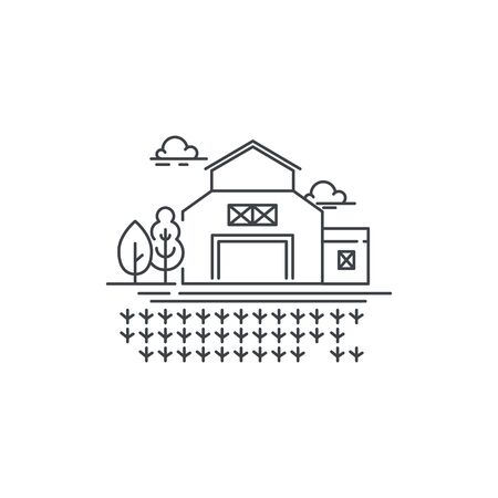 Farm barn line icon with germinating field Outline illustration of sprouts on the field vector linear design isolated. Farm logo template, element for farming design, line icon object. Illustration