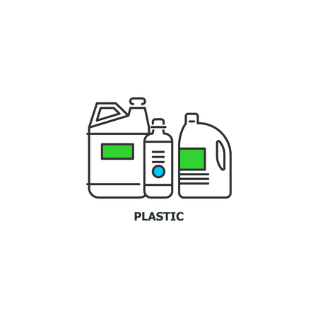 Waste plastic recycle concept icon in line design, vector flat illustration isolated on white background