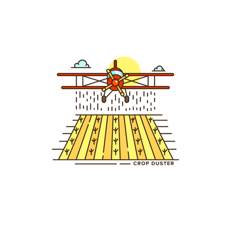 Farm crop duster above the field line icon. Colorful flat illustration of plane vector design isolated on white background. Farm icon template, element for agriculture business, linear icon object