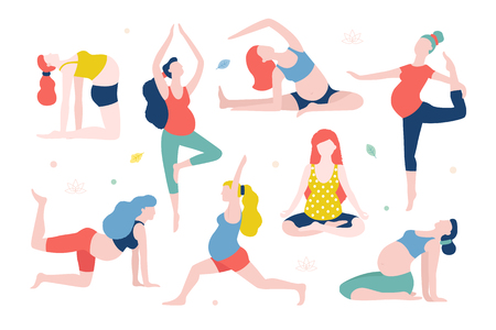 Yoga for pregnant women vector flat illustration isolated on white background. Healthy women with belly doing yoga in different poses. Illustration