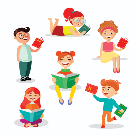 Children reading books set of vector illustrations in flat design. Happy girls and boys with books isolated on white background Vectores