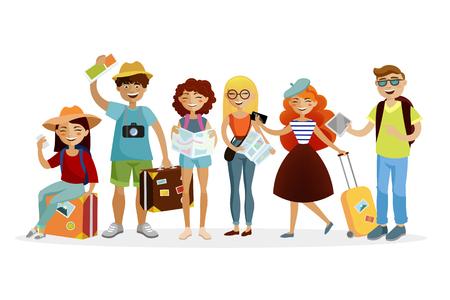 Grupo de turistas personagens de desenhos animados ilustração plana vector Foto de archivo - 94989515
