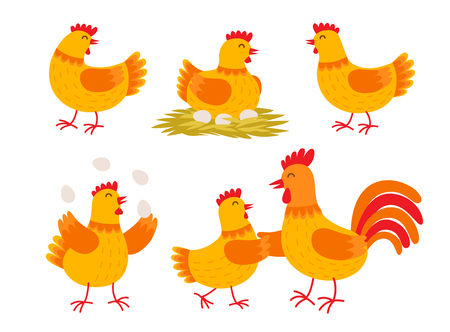 Happy hen cartoon character in different poses isolated on white background. Hen and rooster vector flat illustration. Cute and funny colorful set of egg-laying hens. Chicken with eggs.