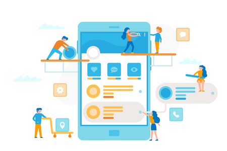 Small people around a smartphone make a UI UX process infographic. Teamwork business concept. Business workers together in minimal design vector flat illustration Illustration