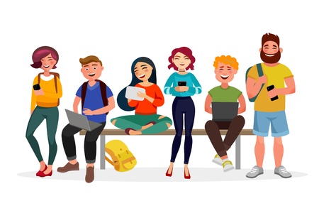 Young people gather together with gadgets. Youth spending time, walking, working and smiling. Men and women in casual style vector flat illustration with bright colours, isolated on white background.