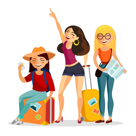 Girls traveling together vector flat illustration. Young people travelers with suitcases having fun isolated on white background. Trip and journey concept