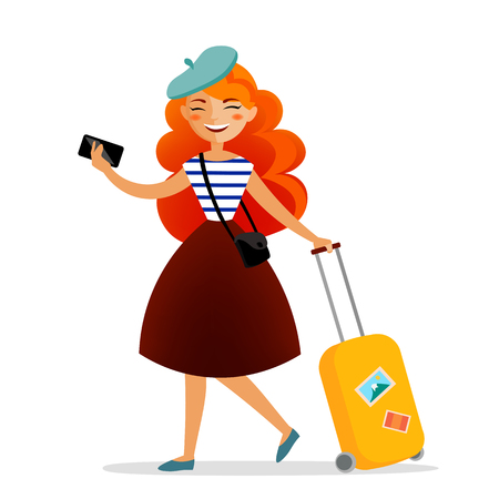Girl traveler with a suitcase, bag and phone with cute red hair travelling and having fun.