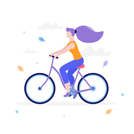 Slim girl riding a bicycle in flat design isolated on white background. Woman s activity at the park concept illustration.