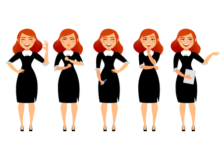 Business woman in various poses flat vector illustration. Cartoon character of business woman isolated on white background. Smiling secretary girl with happy mimics and red hair