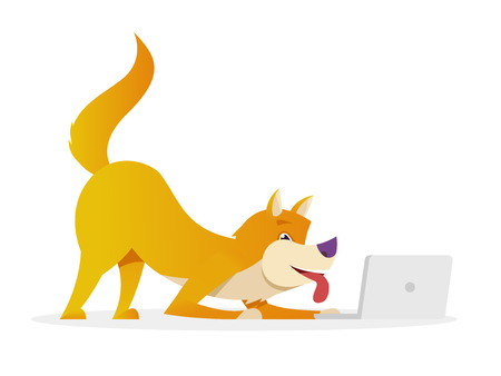 Funny dog with laptop raises its tail up vector flat illustration