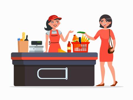 Kassierer und Käufer an der flachen Illustration des Supermarktvektors lokalisiert auf weißem Hintergrund.