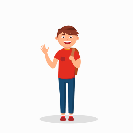 Young boy laughing and waving cartoon character illustration isolated on white background. Ilustração
