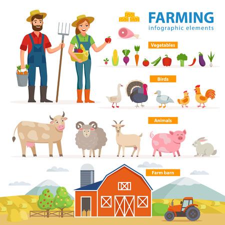 Una agricultura elementos infográficos. Dos granjeros - hombre y mujer, animales de granja, equipo, granero, tractor, paisaje gran conjunto de ilustraciones planas de vectores aisladas sobre fondo blanco. Concepto de agricultura ecológica.