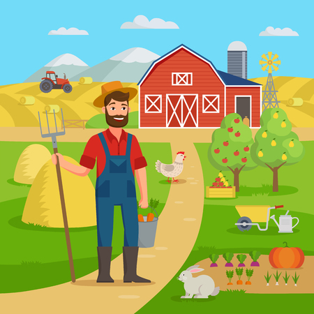 Happy farmer with agricultural landscape and garden standing in front of the farm barn and fields with crop. Eco Farming concept vector illustration in flat design. Big set for farm infographics  イラスト・ベクター素材
