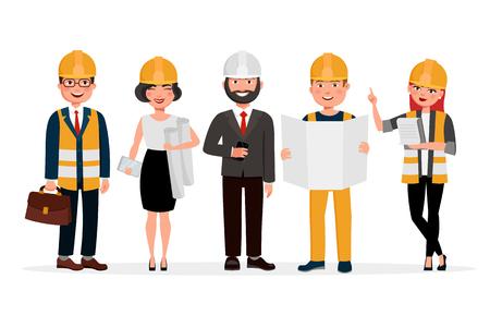 Ingenieurzeichentrickfilm-figuren lokalisiert auf weißem Hintergrund. Gruppe Techniker, Erbauer, Mechaniker und Arbeiter vector flache Illustration. Vektorgrafik