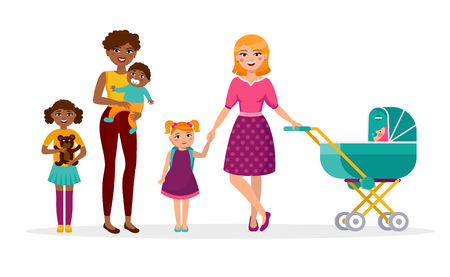 Happy Mother s day concept vector flat illustration. Two mothers with children are walking. Caucasian and African American families, women, girls, kids cartoon characters isolated on white background