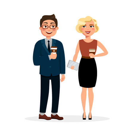 Young people meeting and drinking coffee outdoors. Two businessmen at lunch or breakfast having business coffee break. Urban lifestyle concept illustration in flat design isolated on white background.