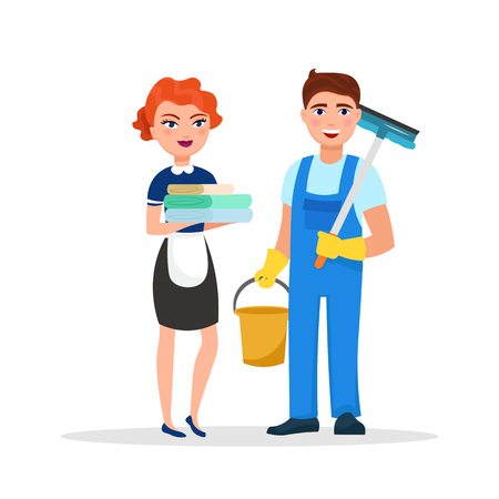 Cleaning service staff smiling cartoon characters isolated on white background. House cleaners dressed in uniform vector illustration in a flat style. Cute and cheerful workers housekeeping concept.