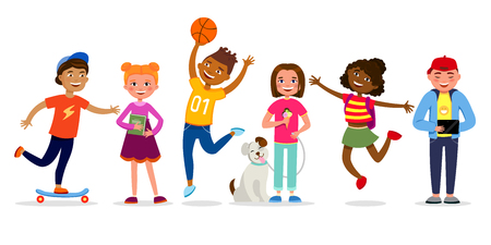 Funny children cartoon characters vector illustration in flat design. Girls and boys doing activities, walking, jumping, having fun. Kids different races isolated on white background.