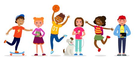 Lustige Kinderkarikaturcharakter-Vektorillustration im flachen Entwurf. Mädchen und Jungen machen Aktivitäten, gehen, springen, haben Spaß. Kinder verschiedene Rassen lokalisiert auf weißem Hintergrund. Vektorgrafik