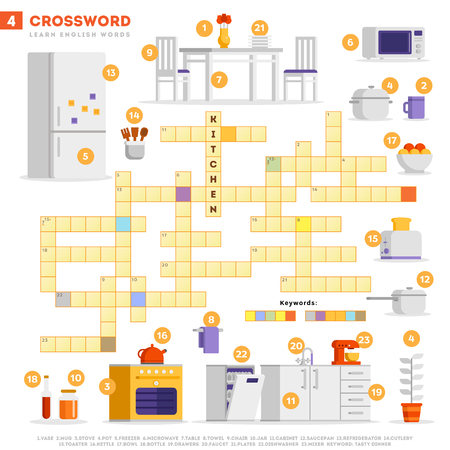 Crossword with huge set of illustrations and keyword in vector flat design isolated on white background. Crossword 4 - Kitchen - learning English words with images Illusztráció