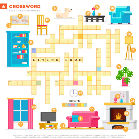 Crossword with huge set of illustrations and keyword in vector flat design isolated on white background. Crossword 6 - Living room - learning English words with images Illustration