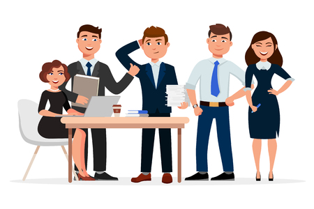 Set of cheerful business people cartoon characters. Colleagues at the meeting, business women and businessmen gathering. Teamwork concept vector flat illustration.