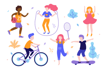 Children activities. Set of kids doing sports, riding the bicycle, playing basketball, jogging, jumping, skating different poses. Sports outdoods vector flat illustration isolated on white background Illustration