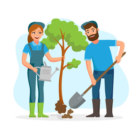 Couple of gardeners, farmers planting tree in the park vector flat illusration isolated on white background. Young cheerful people working in garden Ilustrace