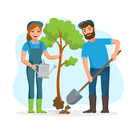 Couple of gardeners, farmers planting tree in the park vector flat illusration isolated on white background. Young cheerful people working in garden Banco de Imagens