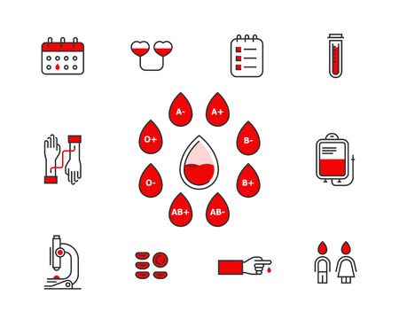 Blood donation vector icon set isolated on white background . Blood transfusion concept illustration. Donor infographic elements with blood types. donor banking line icons editable stroke