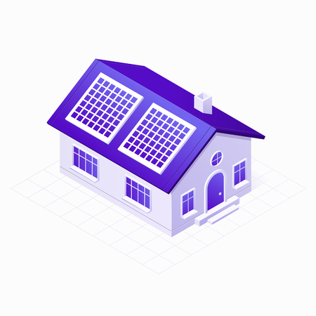 Solar panels electric system on the eco energy house 3D isometric icon, vector illustration isolated on white background Vettoriali