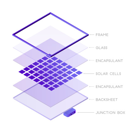 Parts of solar panel photovoltaic system isometric design. Solar panel components 3D icon vector infographic element, illustration isolated on white background