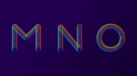 Set of colorful modern abstract letters creative design vector illustration. Rainbow Neon spring alphabet isolated on dark purple background Vetores