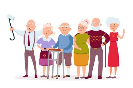 Ensemble de joyeux hipsters de personnes âgées se rassemblant et s'amusant, les vieillards et les femmes font des personnages de dessins animés vectoriels selfie. Illustration de concept de vecteur de personnes âgées drôle au design plat isolé sur blanc. Vecteurs