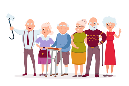 Set of cheerful senior people hipsters gathering and having fun, old men and women make selfie vector cartoon characters. Funny Elderly vector concept illustration in flat design isolated on white.