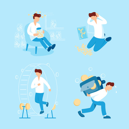 Person and money collection vector flat illustration. Man collects coins, carries the big heavy wallet with small money, running in hamster wheel and keeps in hands a jar with coins for donation. Ilustração